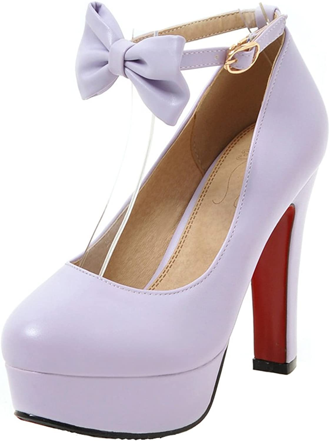 AIYOUMEI Women's Block High Heel Platform Ankle Strap Pumps shoes with Bows