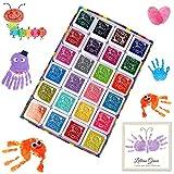 Kitchen-dream 24 Colores Tinta Sellos, Almohadillas de sello lavables para niños, huella digital no tóxica Ink Pad para hacer tarjetas de sellos de goma y libros de recuerdos de bricolaje
