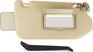 Xislet Driver Side Sun Visor Replace for 2013-2019 Nissan Pathfinder 2014-2018 Infiniti QX60 Sunvisor with Mirror and Vanity Light (Tan, Passenger Side)