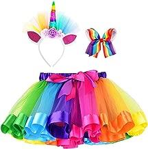 Simplicity Girls Rainbow Layered Tulle Tutu Skirt with Unicorn Headband & Hair Bow