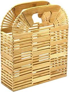 PUERI 竹編みストローバッグ 竹編みバッグ 手作り 手提げ 多目的 木製 長方形ビーチバッグ 大容量 便利 レディース エレガント レトロ アウトドア 買い物 竹編みビーチバッグ シングルショルダーメッセンジャーバッグ