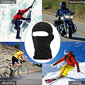 Balaclava Face Mask, Adjustable Windproof Ski Mask Women & Men, Headwear Neck Warmer for Skiing,Cycling,Motorcycle,Hiking,Outdoor Sports, Lycra Fabrics UV Protection Tactical Balaclava (2 Pack) Black