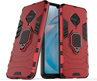 FanTing Case for vivo S1 Pro, Rugged and shockproof,with mobile phone holder, Cover for vivo S1 Pro-Red