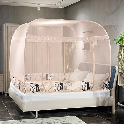 南极人 蚊帐免安装蒙古包1.8m床双人家用1.5米三开门1.2学生宿舍 情侣猫-玉色 1.8m(6英尺)床