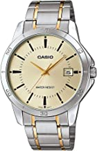 Casio Two-tone Stainless Steel Bracelet Gold-tone Date Dial Mens Analog Watch MTPV004SG-9A