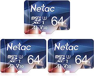 Netac Carte mémoire microSDXC, Lot de 3 64G Haute Vitesse UHS-I Carte Micro SD jusqu'à 100MB/S, A1, U3, C10, V30, 4K, 667X...