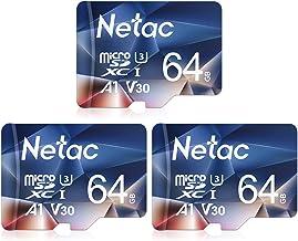 Netac 64G Scheda Micro SD Set da 3, Scheda di Memoria A1, U3, C10, V30, 4K, 667X, UHS-I velocità Fino a 100/30 MB/Sec(R/W) Micro SD Card per Telefono, Videocamera, Switch, Gopro, Tablet