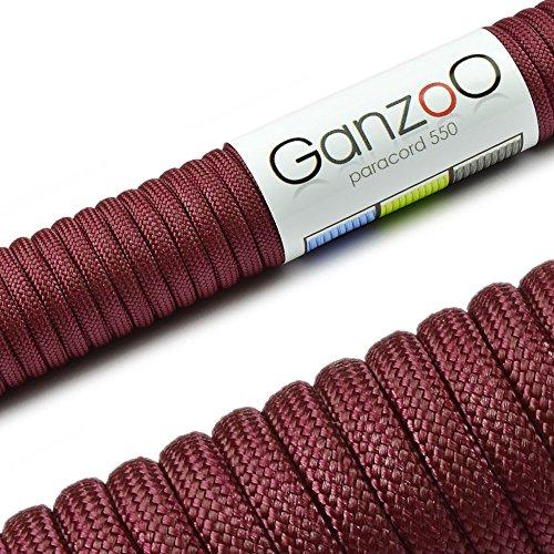 Ganzoo Paracorde 550, 15 mètres, idéale pour bracelets, laisses ou colliers pour chien - Corde de 4 mm d'épaisseur - Corde tressée polyvalente avec une charge maximale de 250 kg, bordeaux