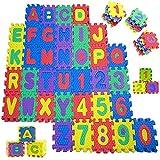 Sosila Puzzlematte, 86 TLG. Kinderspielteppich, Puzzleteppich mit Buchstaben und Zahlen, Spielmatte Spielteppich Kinderteppich Lernteppich, Puzzlematte für Kinder (Buchstaben&Zahlen)