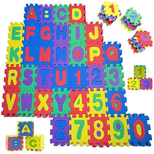 Sosila Alfombra de puzzle, 86 piezas, alfombra para niños, alfombra de puzzle con letras y números, alfombra de juego para niños (letras y números)