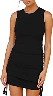 Women Sleeveless Bodycon Ruched Short Dress Side...