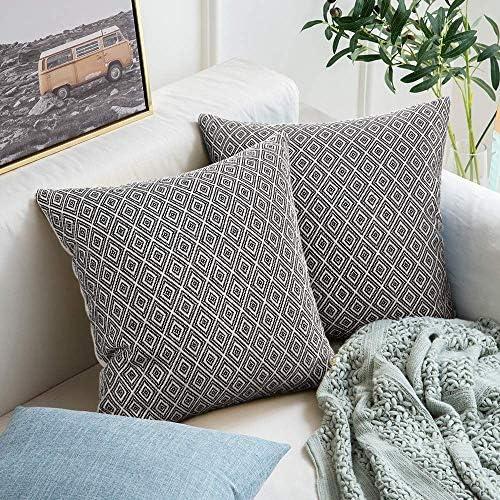 cygnus Set of 2 Farmhouse Decorative Throw Pillow Covers Cotton Woven Geometric Textured Modern product image