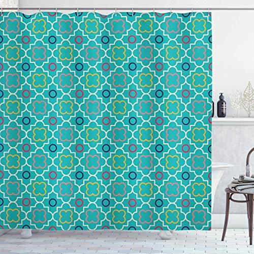 Teal Decor Collection, traditionelles Vierpass-Gittermuster, Kunstwerk mit marokko-geometrischen Formen, Polyester-Stoff, Badezimmer-Duschvorhang, 183 x 183 cm, grün-gelb