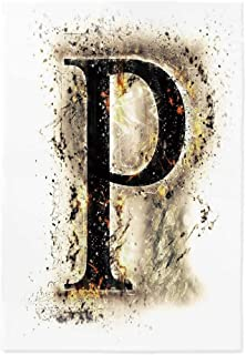 Letter P Polyester Tablecloth,P Symbol Embers on Blazing ABC Font Design Tainted Background Illustration Decorative for Wedding Banquet Restaurant,36.2''W X 54.3''L