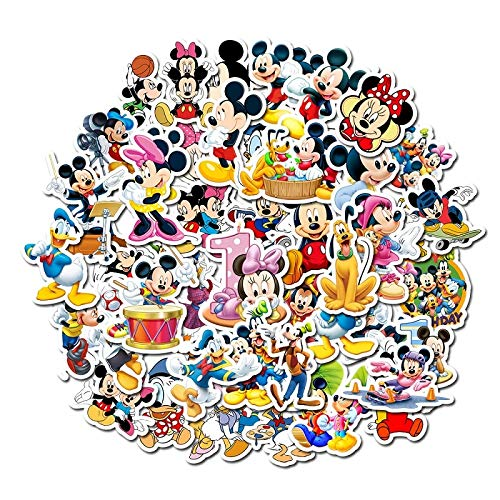 YZFCL Disney Cartoon Mickey Mouse Waterproof Sun Suitcase Guitar Notebook Trolley Case Car Sticker Kid Bubble Stickers Toy Gift50 PCS