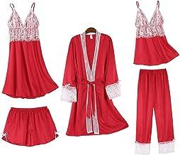 Kleding 5-delige satijnen pyjamaset voor dames, sexy nachthemd met kanten nachthemd, pyjama met borstvulling, casual pyjam...