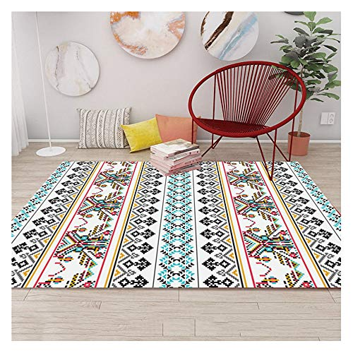 LKH Rug for Bedroom, National Wind Carpet, Non Slip Rugs for Farmhouse Kitchen Decor, Coffee Table Sofa Floor Mat, Simple and Elegant(Size:1.2×1.8m,Color:C)