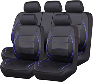 CAR PASS Universal FIT Piping Leather Car Seat Cover, for suvs,Van,Trucks,Airbag Compatible,Inside Zipper Design and Reserved Opening Holes (11PCS, Black and Blue)