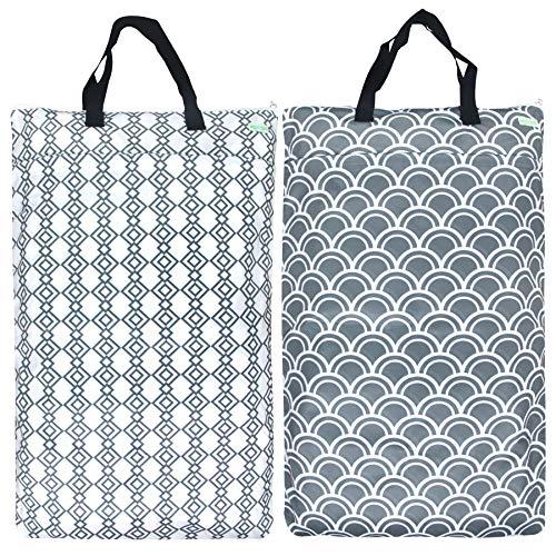 Wegreeco Reusable Hanging Wet Dry Cloth Diaper Bag (2 Pack, Grey Wave, Grey Hanging)