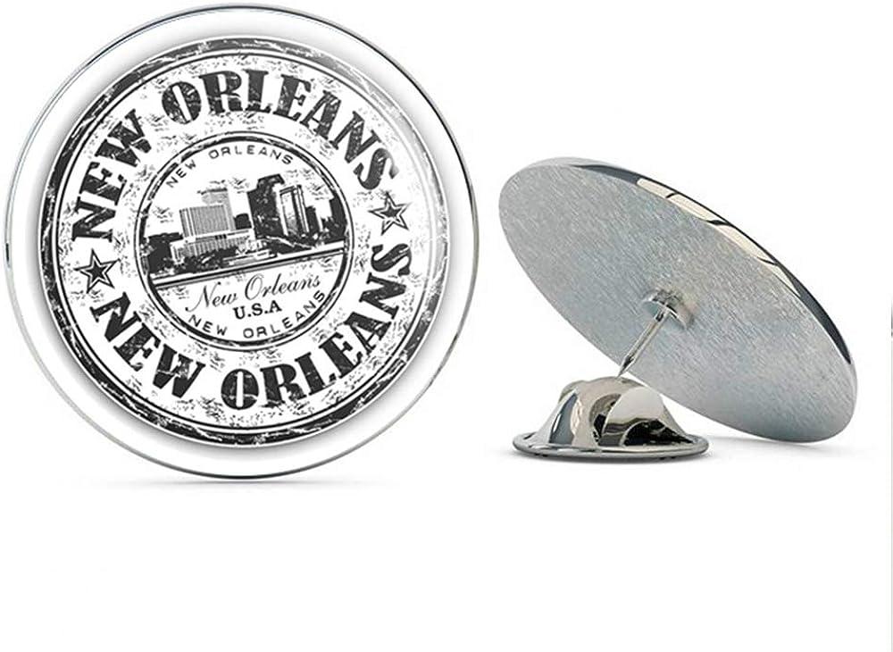 New Orleans USA Grunge Rubber Stamp Round Metal 0.75