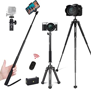 COMAN Selfie Stick Tripod Kit MT50 Lightweight for Travel with Bluetooth Remote and Phone Adapter Mount for iPhone Cellpho...