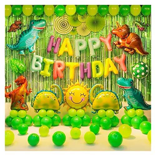 JSJJAES Globos Tema de Dinosaurio Paquete de cumpleaños Balloon niños Bebé de un año de Fondo Decoración de la decoración Disposición del Partido (Ballon Size : 16inch, Color : Light Yellow)