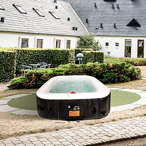 AquaSpa Portable Hot Tub 61X61X26 Inch Air Jet Spa 2-3 Person Inflatable Square Outdoor Heated Hot Tub Spa with 120 Bubble Jets