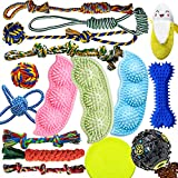 Dog Chew Toys for Puppies Teething, Puppy Toys 16 Pack Dog Toys for Aggressive Chewers Puppy Chew Toys Peas Rubber Bone Rope Dog Toy Bundle Small Dog Squeaky Toys iq Treat Ball Pet Toys for Small dogs