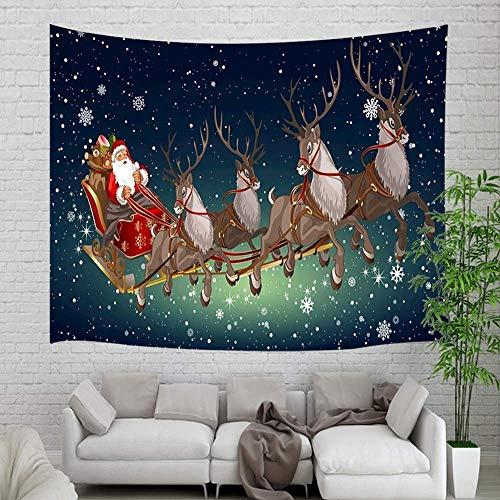 Tapestry Navidad Papá Noel y ciervo colgante de pared, Navidad Papá Noel y reno con copo de nieve en la pared del cielo estrellado Tapestries 80X60inch