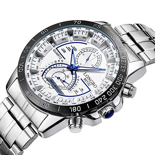 iWatch Herren-Armbanduhr Sportuhr Analog Quarz 3ATM wasserdicht LED Licht Edelstahl Silber mit Weiß Zifferblatt und Blau Gauge-Nadeln