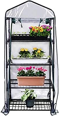 ZAQI Movable Greenhouse for Indoor Outdoor Garden, 4 Tier Mini Clear Heavy Duty Flower Stand