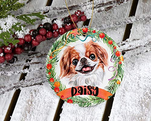 Lplpol Japanese Chin Ornament Personalized Ornament Custom Dog Name Christmas Ornament Christmas Ornament Japanese Chin Custom Gift