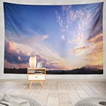 Sky Wall Tapestry,Tapestry Wall Hanging World Environment Day Dramatic Valley Sky Sunset Mountain Landscape WallArt for Bedroom Living Room Tablecloth Dorm Decor 80x60 Inches