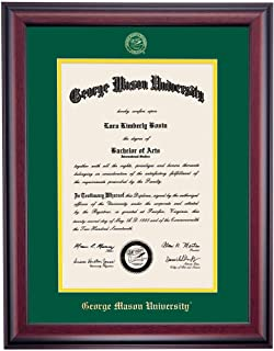 OCM George Mason University Traditional Wood College Diploma Display Frame in Hunter Green and Yellow School Colors Embossed with School Name and Seal for Diplomas 14