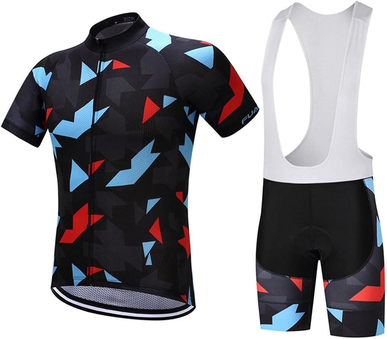 QIXFU Cycling jersey Short Sleeves with Bib ShortsBike Padded Shorts Quick Dry Sweat-wicking Team Cycling Clothing