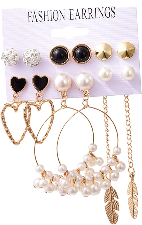 Deevoka 6 Pairs Crystal Pearl Leaf Earrings Ear Cuff Elegant Women Girl's Ear Stud Set, Hypoallergenic Wedding Bridesmaid Jewelry Ear Studs Xmas Gifts