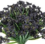 Ksnnrsng 6 unidades de flores artificiales violetas de plástico verde para jardín, oficina, casa, ventana, patio, boda, caja, decoración interior y exterior (negro)