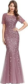 Women's Illusion Embroidery Elegant Mermaid Evening Dress...