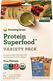 Amazing Grass Protein Food Variety Pack! Two Flavors: Chocolate Peanut Butter & Pure Vanilla! Complete Plant Based Protein with Greens, Fruits and Veggies! Limited Edition!