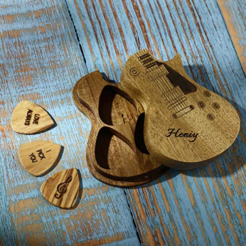 Guitar Picks Custom Any Message Personalized Name Guitar Accessories with Wooden Case (Large)