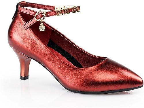 BYLE Sangle de Cheville Sandales en Cuir Cuir Cuir Chaussures de Danse Modern'Jazz Samba Chaussures de Danse Latine avec Adultes Femmes, Souple en Cuir Rouge vin 5.5CM bda