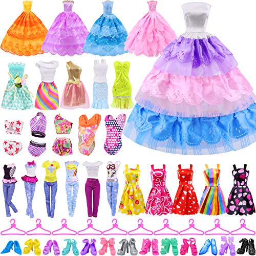 Ecore Fun 41 PCS Doll Clothes and Accessories 5 Dresses 5 Fashion Skirts 5 Mini Dresses 3 Fashion Clothes Sets 3 Swimsuits 10 Hangers 10 Shoes Fashion Casual Outfits Set Perfect for 11.5 inch Dolls
