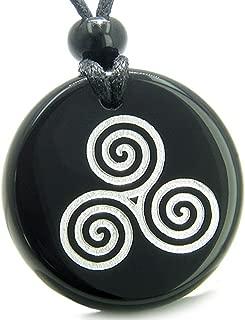 BestAmulets Amulet Triple Spiral of Life Magic Celtic Goddess Black Agate Pendant Necklace