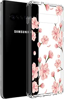 Vinve Floral Slim Case Compatible with Samsung Galaxy S10 Plus, [Crystal Clear] Anti-Scratch Shockproof Cover Hard Back Panel + TPU Bumper Phone Case for Samsung Galaxy S10 Plus (Peach Blossom)
