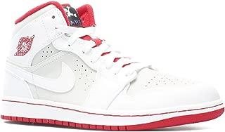 Nike Men's Air Jordan 1 MID WB White/Silver/Red 719551-123 (Size: 9.5)