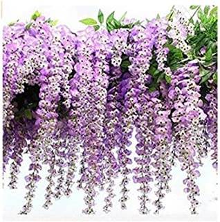 MoGisst High Simulation Wall Hanging Wisteria Flower Long Bean Flower Vines Bean Flower Shopping mall Hotel Beauty Chen Hanging Decoration Material Silk Flower Style high-Grade Color Printing Long pu