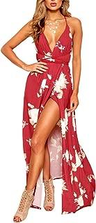Women's Boho Backless Floral Beach Dress Sexy Split Maxi Dress