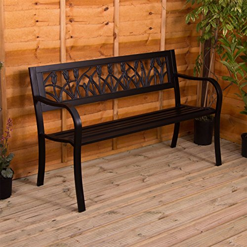 Garden Vida Steel Garden Bench, Tulip Design 3 Seater Outdoor Furniture Seating Park Patio Seat