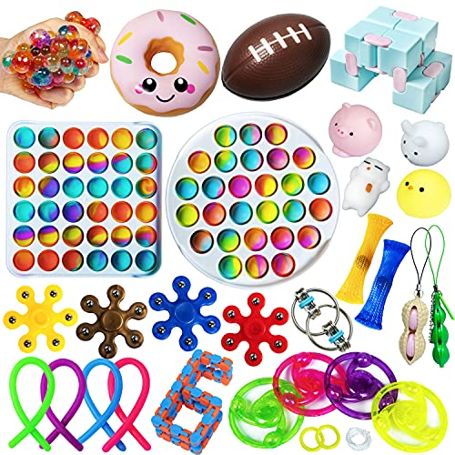 Fidget Toy Pack, Fidgets Toys Set de Juguetes Sensorial Burbujas Antiestrés Simple Dimple Pop Bubble Fillet Fifget Figet Figettoy Sensory Toy Mochis Pelotas Box Niños Adultos Regalo Navidad Cumpleaños