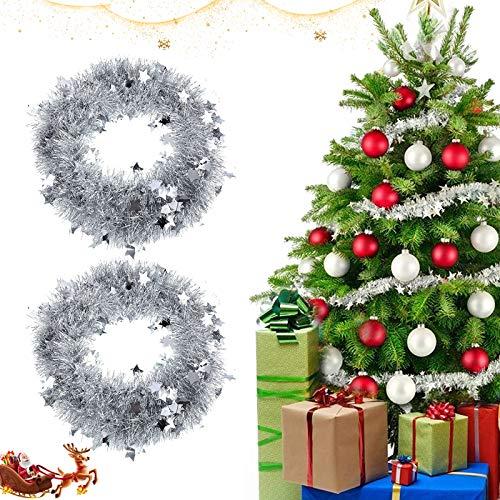 Metallische Girlanden, 2 Weihnachten Lametta Girlande,Glänzend Weihnachtsbaum Ornamente,Weihnachten Girlande Metallisch,Festliches Weihnachten Lametta,Girlande Weihnachten,Glitzernde Lametta Draht